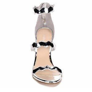 NWT! Metallic Silver Strappy Shoe with Zip-up Back
